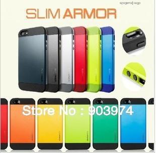 Hot! 50Pcs/lot Newest SGP SPIGEN SGP Slim Armor Color case for iPhone 5+Original Box Free Shipping wholesales