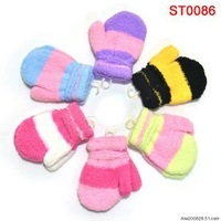 Multicolor stripe baby thermal gloves child with rope halter-neck gloves thickening coral fleece mitten