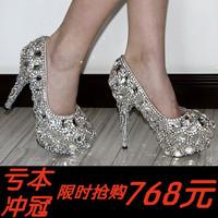 Luxury crystal wedding shoes banquet silver married bridesmaid princess rhinestone high-heeled