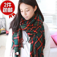 Autumn and winter faux plaid scarf cape hot-selling dual-use ultra long cashmere scarf