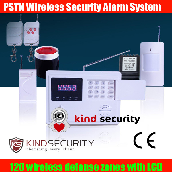 Clock display PSTN Wireless 120 zones Safety Reliable And Stablity Home auto dial Burglar Alarm System With LCD Display(China (Mainland))