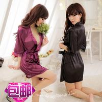 Lace transparent sexy nightgown sleepwear kimono the temptation to set plus size open-crotch women's
