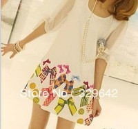 [Free Shipping]New arrival O-neck bowknot sleeves printing chiffon  sunmmer women's dress