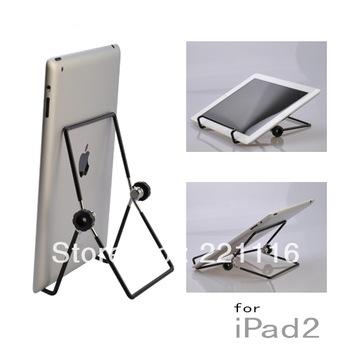 Foldable Metal Frame Stand Holder for iPad and 7 inch Tablet PC - Black Color