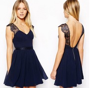 2014 New Fashion Wmen's Lady Short Sleeve Crew Nec Chiffon Dress Roll Wave Spins Free Shipping C0003P