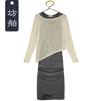 Spring one-piece dress slim hip fashion long design long-sleeve full dress 2013 women's spring