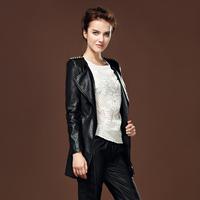 Thin long paragraph slim leather  rivet long design PU    oblique zipper leather    spike  leather  jacket   rivet  coat