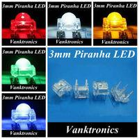 5Valuesx 100pcs=500pcs New 3mm Piranha Super Flux Red/Green/Blue/White/Yellow LED Light Lamp Bulb 2500MCD