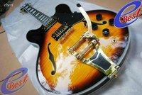 NEW arrival Bigsby vintage sunburst semi jazz Electric guitar 12 in stock