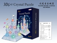 Free shipping 3D three-dimensional crystal puzzle flash music castle castle building model puzzle with flash and music