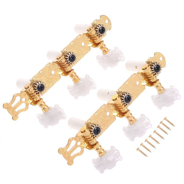 2pcs/set Classical Gilding Guitar Tuning Pegs Keys Machine Heads Tuner Made of gold-plate and plastic I49 Freeshipping Wholesale(China (Mainland))