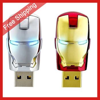 Iron Man shape USB Flash Pen Drive USB 4GB 8GB 16GB 32GB 64GB Gold & Silver