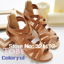 Free Shipping female shoes flat heel gladiator plus size bohemia casual shoes flat sandals(China (Mainland))