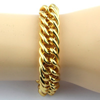 2013 new US fashion Shiny Plated Chunky Aluminum Do not fade Curb Chain Twill bracelet 8 ""