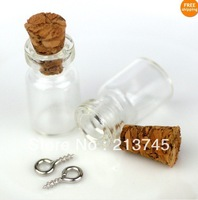 Free shipping !!! 50pcs/lot 10x18mm cork & dull silver Eyehook Tiny Clear Glass Bottles Vials Charms Pendants 0.5ml