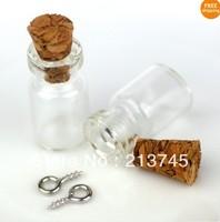 Free shipping !!! 50pcs/lot 10x18mm cork & dull silver Eyehook Tiny Clear Glass Bottles Vials Charms Pendants 0.5ml