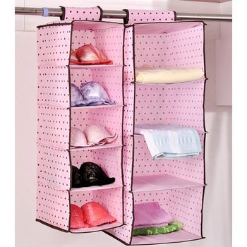 free shipping Pink polka dot high quality non-woven storage bag hanging bag sn1349