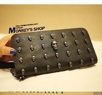 Punk skull rivet day clutch women's handbag quality Women card holder coin purse compartment