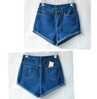 Hot Retro Womens Girls Blue High Waist Flange Hole Wash Jeans Denim Shorts