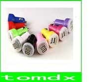 200pcs/lot New Dual 2 Port USB Car Charger 12v DC for iPad iPhone 5 4G 4 3G 3S iPod 2.1A HTC + Free ship