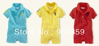 3pcs/lot baby polo romper boy's short polo one-piece romper children short sleeve polo jumpsuit romper cotton free shipping