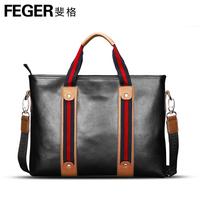 Series feger stripe shoulder bag handbag messenger bag cowhide male backpack bag