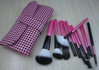 12 cosmetic brush set brush set cosmetic tools make-up brush powder professional bag high quality animal wool
