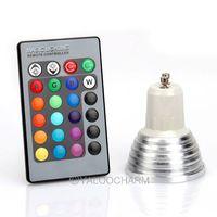Free Shipping Hot Sale 1x Energy Saving 3W GU10 RGB LED Bulb Lamp light Color changing IR Remote 80188