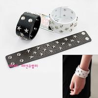2067 women's jewelry punk rivet pentastar buckle leather bracelet jewelry