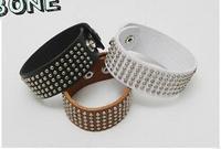 Fashion gold echinochloa frumentacea 2084 beads rivet leather bracelet