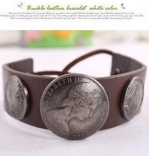 2042 fashion punk vintage the queen head portrait leather bracelet fashion big