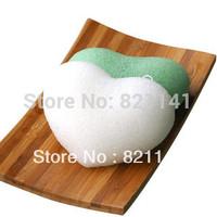 100% Natural Konjac sponge Facial Wash Cleaning Puff  whitten bubble sponge 8.5*7.5*3.5cm heart shape natural color