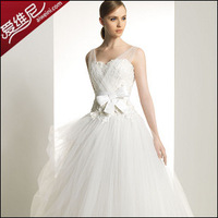 New arrival white double-shoulder sweet princess wedding qi bow customize