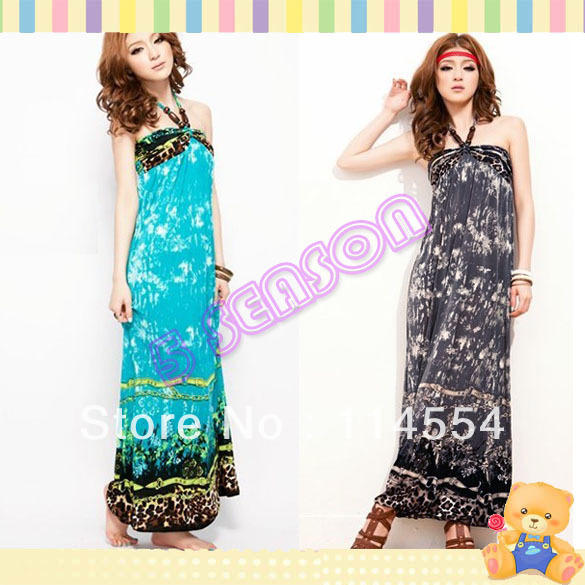 Free Shipping Korea Women&#39;s Bohemian Beach Sundress Halter Neck Full-length Maxi Long Dress 11414(China (Mainland))