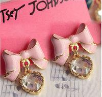 0008 fashion accessories pink elegant bow shine crystal love stud earring female earrings 7g