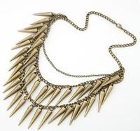 Fashion vintage punk fashion rivet nail multi-layer short design necklace female accessories