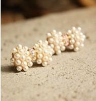 0347 accessories  pearl brief sweet bow stud earring earrings female