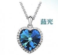 1222 classic crystal zircon peach heart female necklace