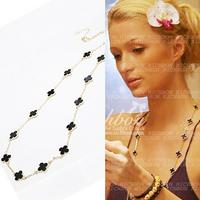 1268 winter romantic clover long design necklace