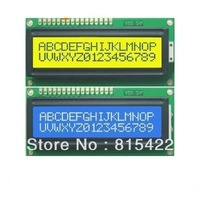 Free Shipping 2pcs/lot 1pcs Blue +1pcs Yellow Backlight 1602 16x2 HD44780 Character LCD Display Module LCM wholesale