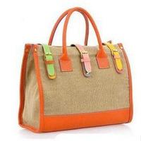 2013 spring and summer vintage handbag cross-body women's handbag color block women's canvas bags brands genuine leather