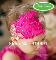 10pcs/lot free shipping 9design can choose baby girl infant Feather headbands,baby qute hair accessories