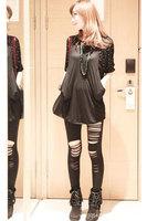 Hot Selling 2014 Fashion Black Front Cut Out Leggings For Women  Pants LB13152 Free Size