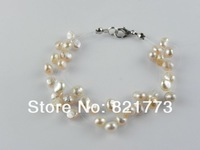 7-strand pink lustrous pearl illusion bracelet