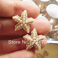 2013 fashion   free shipping  Accessories earrings ascendent small starfish pearl small ears earrings