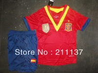 kids gift! best quality 2013-14 season espana home children soccer jersey & short, spain youth futbol/football shirt equipment