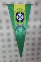 """Wholesale Brazil soccer hanging pennant size(inch) 17.7"""" *   41.3"""" / green pennant decoration Triangle flags"""