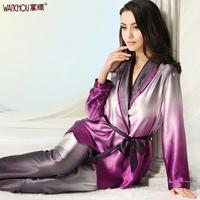 Free shipping Silk heavy silk sleep set lounge mulberry silk women's gradient color kimono long-sleeve set 310