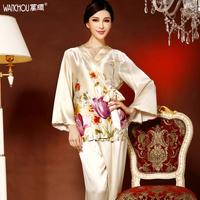 Free shipping Silk heavy silk sleep set lounge mulberry silk quality flower kimono 1231