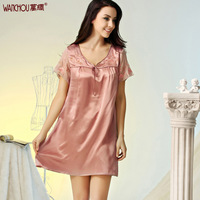 Silk silk nightgown sexy sleepwear lounge female mulberry silk V-neck embroidered baby dress loose 320